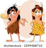 funny prehistoric couple vector ... | Shutterstock .eps vector #1099488710