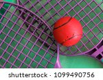 rackets for game on a beach and ... | Shutterstock . vector #1099490756