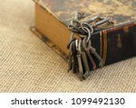 closeup of ancient keys on old... | Shutterstock . vector #1099492130