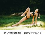 beautiful fitness girl... | Shutterstock . vector #1099494146