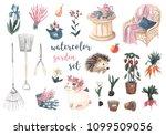 Watercolor Garden Set. Garden...