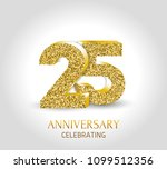 25th anniversary card template... | Shutterstock .eps vector #1099512356