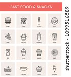 collection of 16 fast food  ... | Shutterstock .eps vector #1099516589