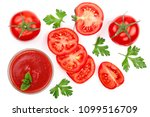 tomato juice in glass and... | Shutterstock . vector #1099516709
