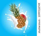 splash of milk on blue. mango... | Shutterstock .eps vector #1099518749