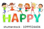 bright cute kids jumping on... | Shutterstock .eps vector #1099526606