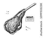 lamb rib vector drawing. red... | Shutterstock .eps vector #1099533230