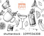 alcoholic cocktails hand drawn... | Shutterstock .eps vector #1099536308