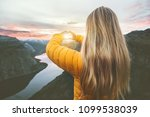 woman traveling in sunset... | Shutterstock . vector #1099538039