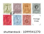 postage travel stamps set. post ... | Shutterstock .eps vector #1099541270