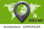 vector flat world map with... | Shutterstock .eps vector #1099543229