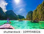 beautiful landscape of maya bay ... | Shutterstock . vector #1099548026
