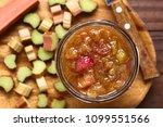 Homemade Rhubarb Jam In Jar...