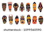 set of tribal african masks.... | Shutterstock .eps vector #1099560590