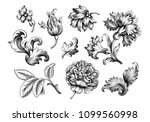 baroque vintage floral set of... | Shutterstock .eps vector #1099560998