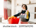 maid in uniform sprays air... | Shutterstock . vector #1099569290