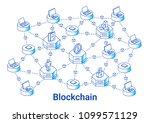 blockchain illustration in... | Shutterstock .eps vector #1099571129