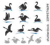 swan set. vector | Shutterstock .eps vector #1099574699