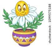 white daisy. chamomile flower.... | Shutterstock .eps vector #1099575188