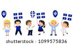 quebec children with flags and... | Shutterstock .eps vector #1099575836