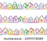 crayon seamless border or frame ... | Shutterstock .eps vector #1099578089