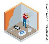 isometric plasterer renovating...   Shutterstock .eps vector #1099582946
