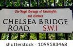 street sign for chelsea bridge...   Shutterstock . vector #1099583468