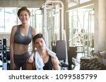fitness man and asian woman... | Shutterstock . vector #1099585799