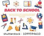 back to school horizontal flat... | Shutterstock .eps vector #1099594610
