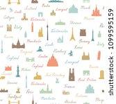 travel world landmarks seamless ... | Shutterstock .eps vector #1099595159