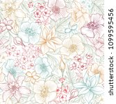 floral seamless pattern. flower ... | Shutterstock .eps vector #1099595456