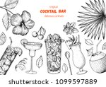 alcoholic cocktails hand drawn... | Shutterstock .eps vector #1099597889