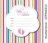 baby girl shower card | Shutterstock .eps vector #109960313
