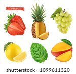 fresh fruit. strawberry ... | Shutterstock .eps vector #1099611320