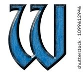 Blue Wood Letter W In A 3d...