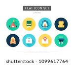 camping flat vector icon set | Shutterstock .eps vector #1099617764