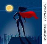 super girl  superhero stands on ... | Shutterstock .eps vector #1099619693