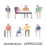 elderly characters in geriatric ... | Shutterstock .eps vector #1099621100