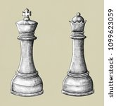 hand drawn chess king and queen ... | Shutterstock . vector #1099623059