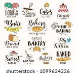 bakery labels  logos  hand... | Shutterstock .eps vector #1099624226