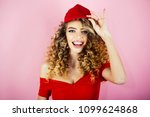sexy girl with curly hair in... | Shutterstock . vector #1099624868