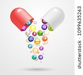 vitamin complex pharmaceutical... | Shutterstock .eps vector #1099635263
