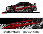 rally car wrap vector designs.... | Shutterstock .eps vector #1099645889