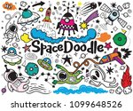 hand drawn space elements... | Shutterstock .eps vector #1099648526
