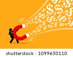 businessman using a big magnet... | Shutterstock .eps vector #1099650110