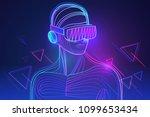 amazed man wearing virtual... | Shutterstock .eps vector #1099653434