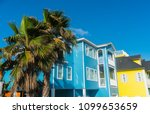 palm trees in front of bright... | Shutterstock . vector #1099653659