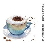 watercolor cup of cappuccino on ...   Shutterstock . vector #1099654463