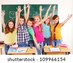 group of happy school child  in ... | Shutterstock . vector #109966154