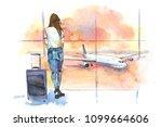 travel. woman traveler in... | Shutterstock . vector #1099664606